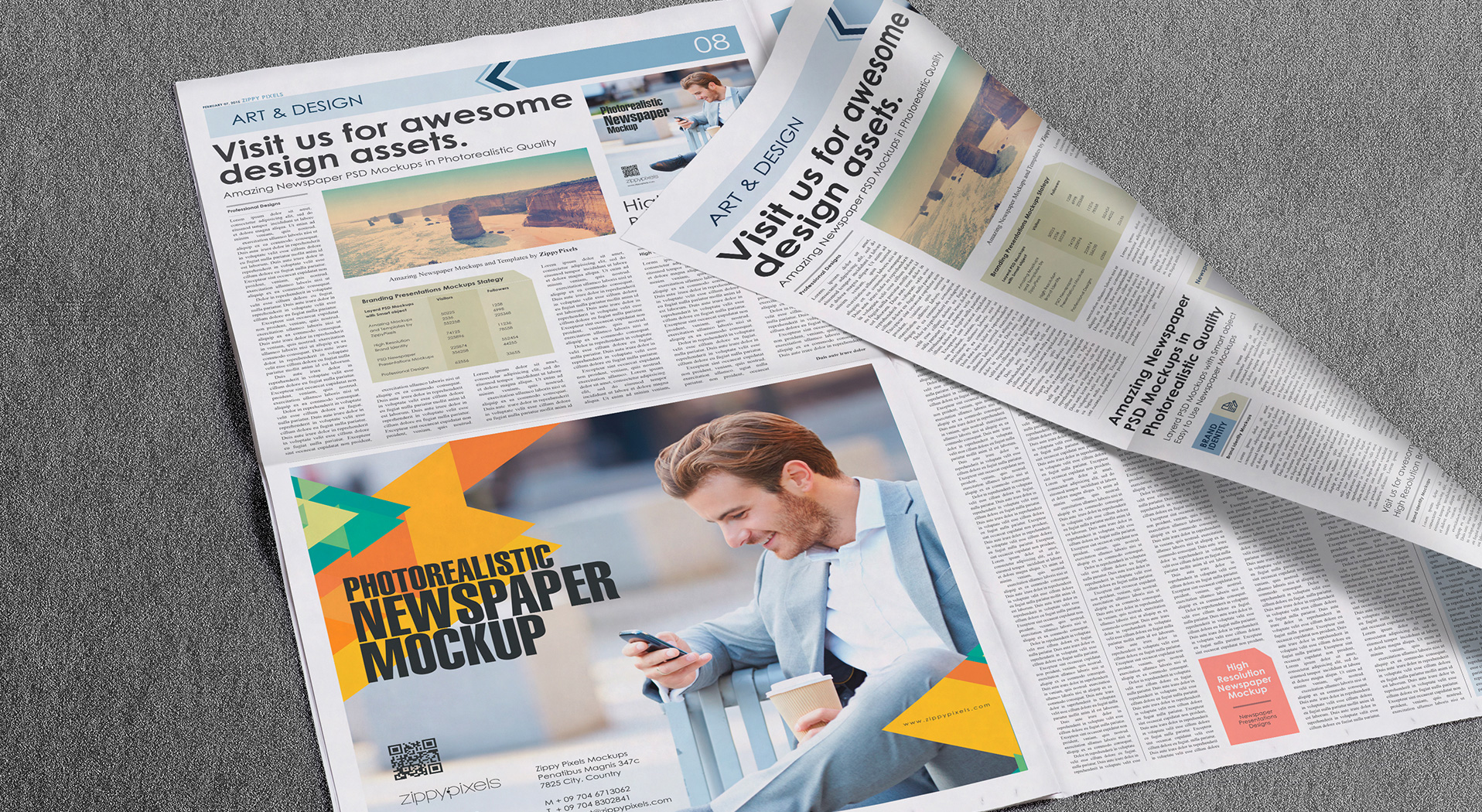 Newspaper Advertisement Mockups vl 4